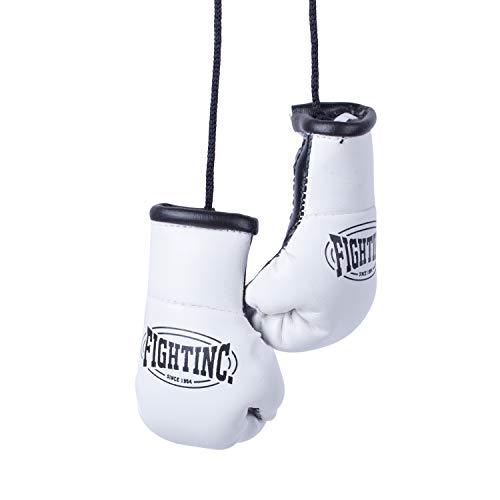 Fightinc. Mini Boxhandschuhe Paar - ideal für Autospiegel, Sporttasche, Schlüsselanhänger UVM Boxen Kickboxen Muay Thai MMA Kampfsport weiß/schwarz (100)