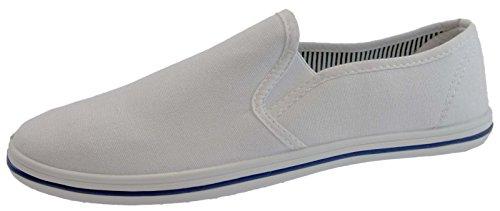 Uomo con Lacci Slip On Pompe scarpe sneaker Espadrilles Scarpe Tela Bambino, taglia adulto UK 7-12, bianco (White), 43 EU Adulto