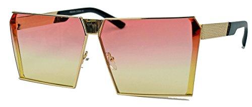 Große Flat Top Sonnenbrille Blogger Fashion Metallrahmen gold FLT83 (Rosa Gelb) (70er Jahre Hippie Mode)
