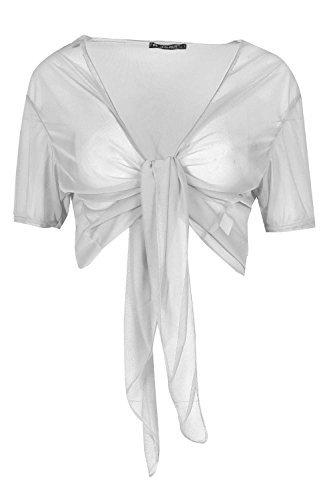 Oops Outlet Damen Offene Vorderseite Krawattenknoten Maschennetz Damen Durchsichtig Bolero Schulterjäckchen Strickjacke Top - Weiß, S/M (UK 8/10) (Vorderseite Damen-strickjacke)