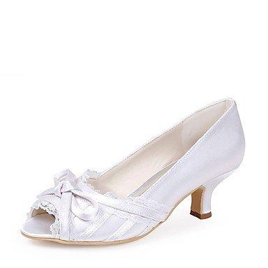 Wuyulunbi @ Chaussures Femme Soie Printemps Été Pompe Chaussures De Base Mariage Talon Aiguille Peep Toe Bowknot Pour La Fête De Mariage Et Blanc Soir Blanc