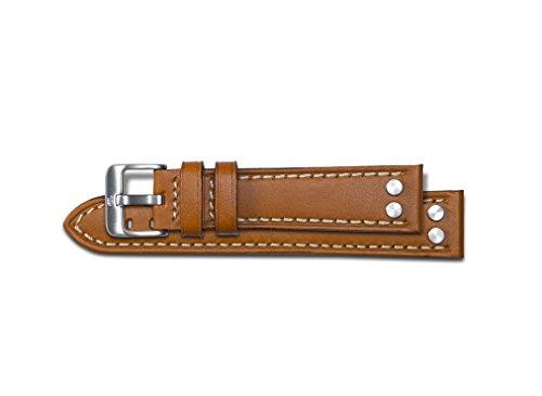 Alfa 24mm Congac in vera pelle cinturino fibbia in acciaio pilota
