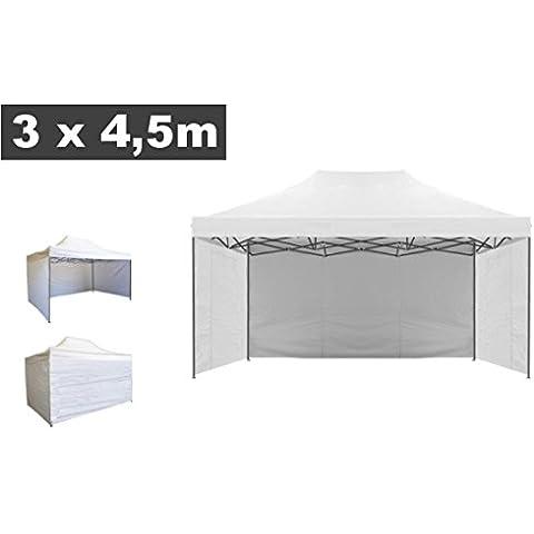 Teli/Telo laterale/Copertura per gazebo pieghevole impermeabile 3x4,5m Bianco - Mod. Loop