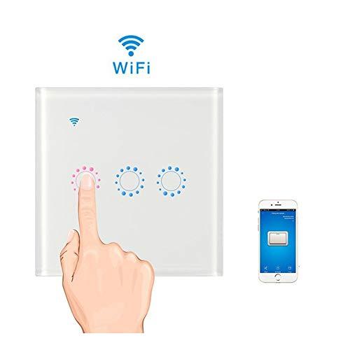 Teepao Interruptor WiFi, Interruptor Tactil Sensor 3 Gang Interruptores Inalambricos Inteligente para Hogar, Compatible con Android y la Aplicación iOS para Smart Home