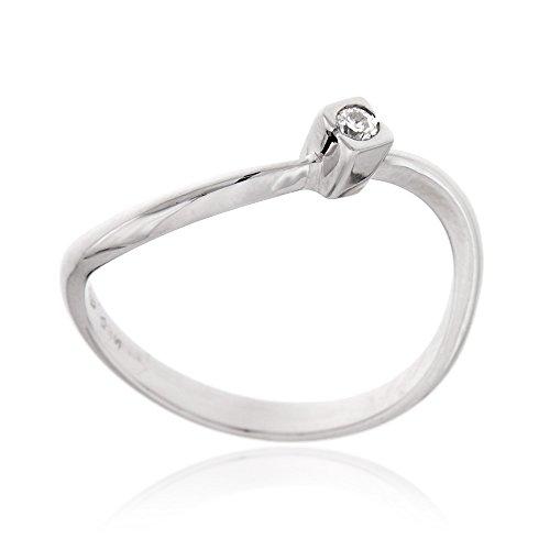 Gioiello italiano - anello solitario in oro bianco 18kt e diamante 0.05ct