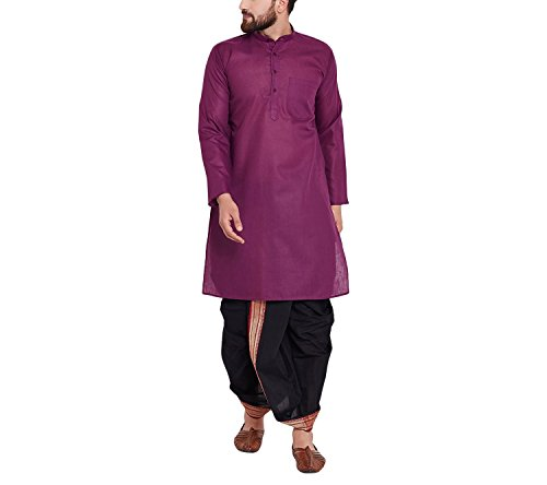 Royal Sojanya Men's Cotton Dhoti Kurta Set X-Large Purple And Black -