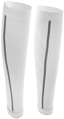 PRESKIN - 2 Kompressionsstrümpfe SportComp WEIß ohne Fuß für Sportler, Job & Alltag, Wadenbeinling für Damen & Herren, gegen müde Beine und Krämpfe, für bessere Regeneration + Durchblutung