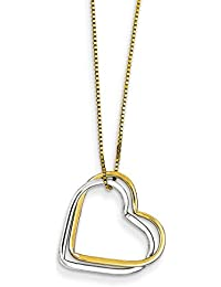 14k Two Tone Yellow Gold Double Heart Pendant Chain Necklace Charm S/love Fine Jewelry For Women Gift Set