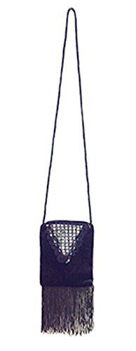 Karnevalsbud - Kostüm Accessoire Flapper- 20er Jahre- Handtasche- Pailletten besetzt, 14x30cm, Schwarz