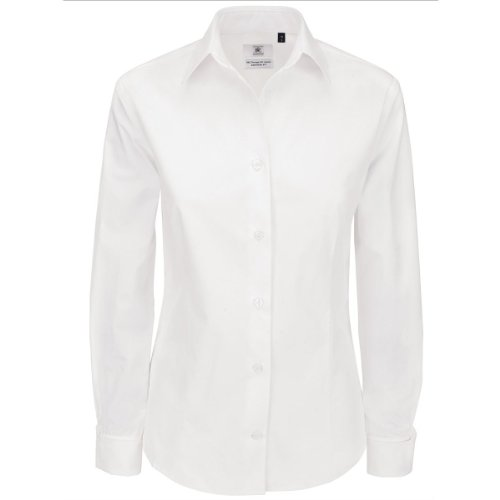 B & C Heritage Collection Women's Long Sleeve Shirt Weiß - Weiß