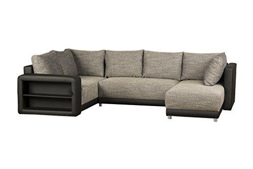 U Couch mit Schlaffunktion, Bettkasten & Regal in Armlehne / Ottomane rechts o. links / Sofagarnitur Kunstleder & Strukturstoff / Federkern Couch Grau-Schwarz / 298 x 190 x 69 cm (B x T x H)