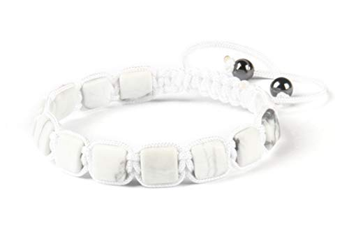 GD GOOD.designs EST. 2015 ® Herren Armband aus echten Natursteinen (Shamballa) Perlenarmband geflochten (Howlith Quader)