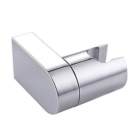 KES Adjustable Handheld Shower Head Holder Bracket Wall Mount for Bathroom Hand Showerhead Modern Square Style, Polished Chrome, C203