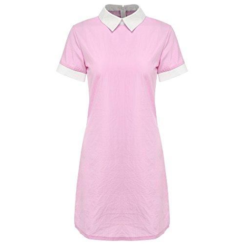 MIOIM Damen Minikleid Sommer Kurzarm Peter Pan Kragen Sommerkleid Elegent PartyKleid Festlich Rosa