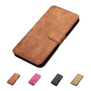 F8Q Deluxe rétro en cuir synthétique Flip Magnetic Closure Card Holder Portefeuille Stand Case pour iPhone 5s beige