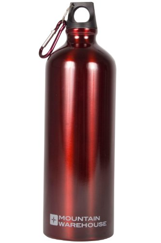 mountain-warehouse-water-bottle-1-litre-camping-metallic-aluminium-drinking-drinks-flask-karabiner-r