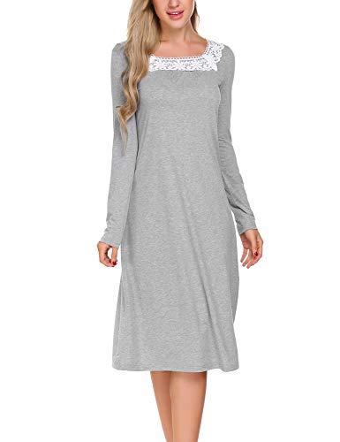 ADOME Damen Nachthemd Sleepwear Langarm A-Linie Casual Nachtkleid Nachtwäsche lang Spize Ausschnitt Herbst Unterkleid, Grau, EU 40(Herstellergröße:L) (Flanell Ärmel Lange)