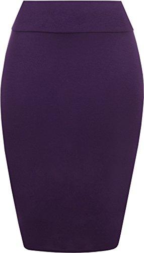 Da donna Tinta unita Bodycon Matita a vita alta elasticizzata, Midi Gonna 8–14 Purple