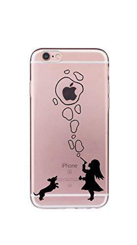 Custodia iPhone 8/7, Silicone Trasparente Morbida Clear Gel Cover, Ultra Slim Antiurto Anti-Graffio Bumper Case con Disegni-Ragazza e cucciolo Ragazza e cucciolo