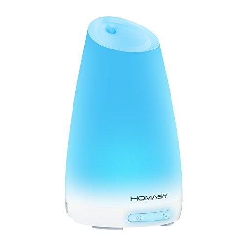 HOMASY Diffuseur Ultrasonique d'Huile Essentielle à Brume Fraîche Aroma Humidificateur Aromathérapie avec Lumières Changeantes et Fonction d'Arrêt Automatique -- 100ml Capacité d'Eau