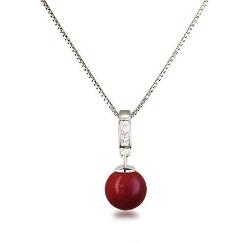 Schöner-SD Silberkette mit Anhänger Perle 10mm und Zirkonia 925 Silber rhodiniert Koralle-rot - Kleine Rote Koralle