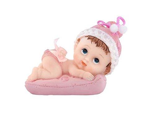 Decoración con un bebé en la almohada. Se utiliza para decorar tortas para el nacimiento. Material: resina. Color: rosa. Tamaño: 9 cm.