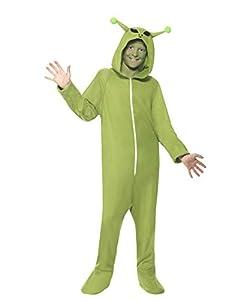 Smiffys 55014S - Disfraz de Alien para niños (unisex, talla S, 4-6 años), color verde