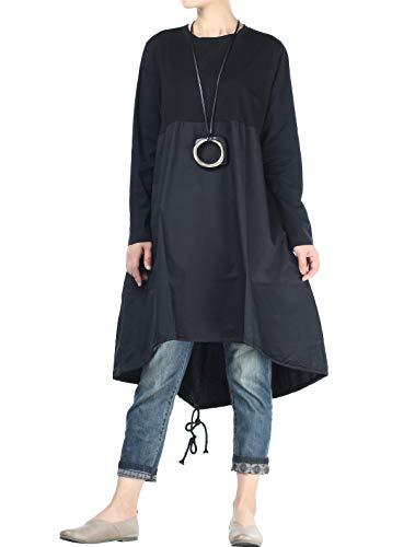 Vogstyle Damen Langarm A-Linie Beiläufige Lose mit Tasche T-Shirt-Kleid Art 3-Schwarz L (Hippie Tunika Shirt)