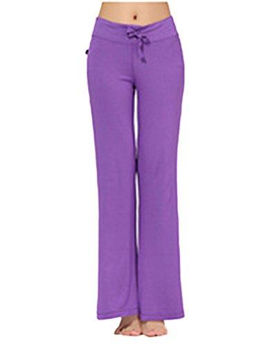 Femme Pantalon de Yoga Danse du Ventre Fitness Sport Bootleg Flares Pantalons Violet
