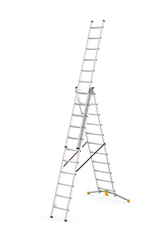 Hailo Sprossenleiter mit 3x11 Sprossen, Alu Leiter Hobby-LOT bis zu 6,8 m Höhe