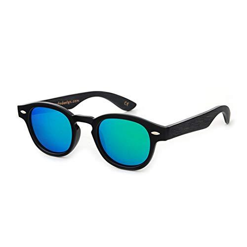 DAIYSNAFDN Holz Sonnenbrille Frauen Runde Bambus Sonnenbrille Für Männer Polarisierte Spiegel Beschichtung Linsen Eyewear C21