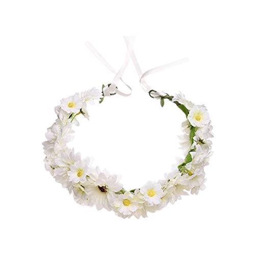 7°MR blumenstrauß Blumenstirnband Simulation Daisy Flower Crown Haarkranz Kopfbedeckung Haarband (Weiß) (Flower Daisy Stirnband)