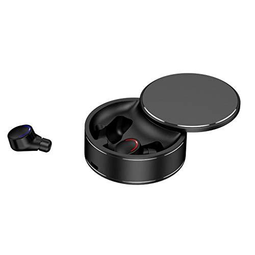 CAOQAO Mini Bluetooth 5 ÉCouteurs éTanches sans Fil ÉCouteurs Intra-Auriculaires ÉCouteurs StéRéO, BoîTe De Chargement éLéGante pour éCouteurs, Oreillettes Bluetooth Le Jogging(Noir)