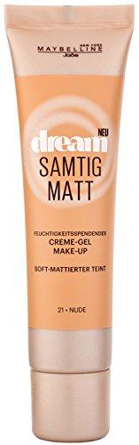 Maybelline New York Dream Samtig Matt Creme-Gel Make-Up Nude 21 / Schminke in einem Hautfarben-Ton, für eine langanhaltende Abdeckung und einen frischen Look, 1 x 30 ml