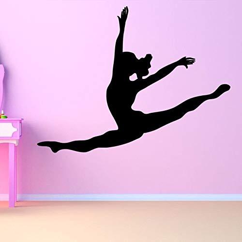 ljradj Tanz Ballett Ballerina Mädchen Entfernbare Wandaufkleber Für Kindergarten Kinderzimmer Mädchen Kunst Dekoration Vinyl Wandtattoos Wandmalereien rosa 56X42 cm -