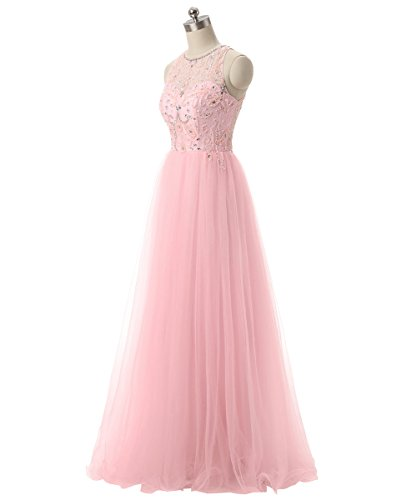 Callmelady Tulle Perlage Robe de Soirée Longue Fête Robes Femme Formel Rose