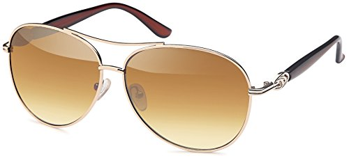 Elegante Pilotensonnenbrille in gold mit Kunststoffbügeln in 2 Farben (braun)