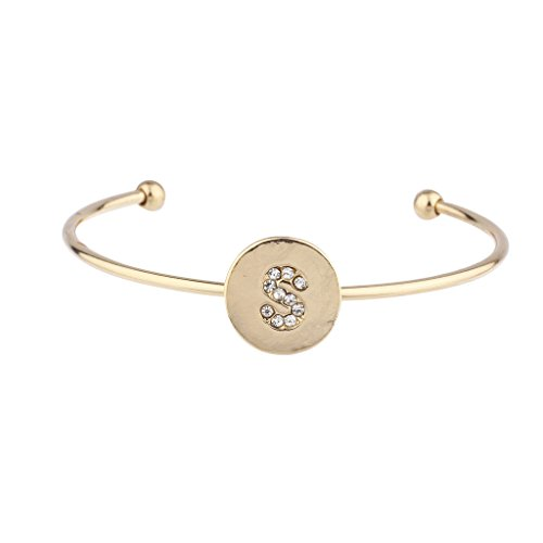 LUX Zubehör Gold Ton Initiale S Kristall Stein Armreif Armband (Gold Alex Und Ani Armreifen)
