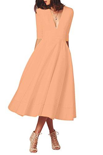 YMING Damen Langarm Kleid Stretch Kleid Freizeitkleider Partykleider Tief V Ausschnitt Formalkleid,Lachsfarbe,L,DE 40 42 (Stretch Langes Kleid)