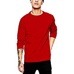 Leotude Men's Cotton Casual Sweatshirt(X-Large,Red)
