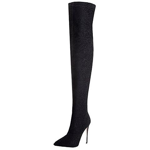 ENMAYER Femmes Nior Sexy Stiletto Talons hauts sur le genou Bottes Slip on Party Dress Shoes EU 36