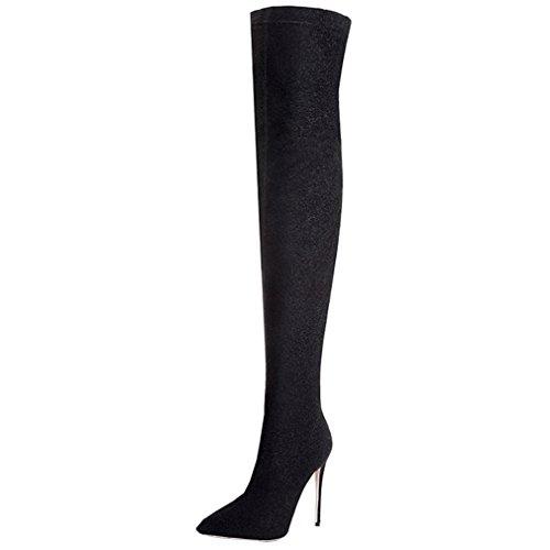 ENMAYER Donne sexy tacchi alti stivali sopra al ginocchio scivolare su il vestito della festa le scarpe Nero