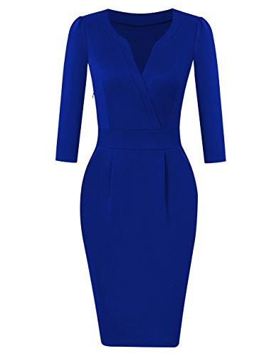 KOJOOIN Damen Elegant Etuikleider Knielang Langarm Business Kleider Empire Blau M