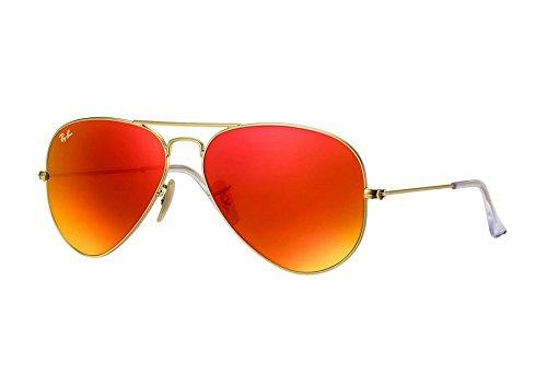 Ray-Ban Unisex Sonnenbrille Aviator, Gr. Large (Herstellergröße: 55), Gold (gold - Ray-ban-brillen-made In Italy