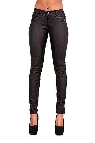 Crazy Lover Mujeres Leggins Cuero Brillante Pantalón Elásticos Skinny Pantalones para Mujer (42, Negro)