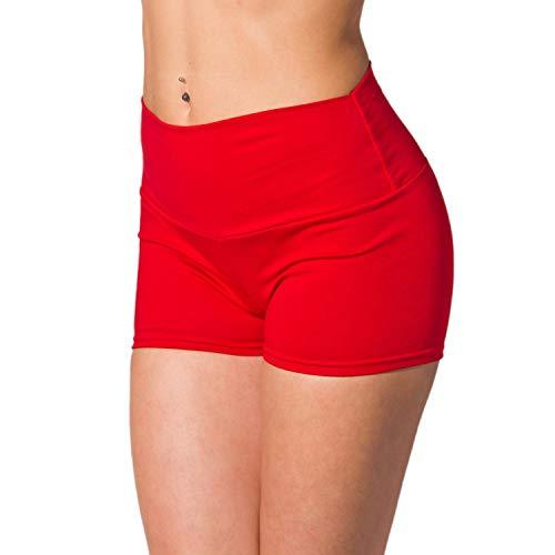 Alkato Damen Sport Shorts mit Hohem Bund Hotpants, Farbe: Rot, Größe: 40 -