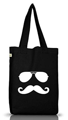Shirtstreet24, RAY MOUSTACHE, Mustache Bart Jutebeutel Stoff Tasche Earth Positive (ONE SIZE) Black