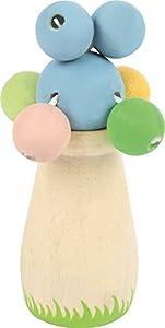 Pequeño pie bebé 10517 sonajero de madera con bolas de colores pastel en cintas para agrietar, encaja perfectamente en una mano de bebé, hecho de material resistente a saliva y colorido
