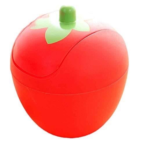 r Desktop Farbe Bin Mini Mülleimer Cute Strawberry Mülleimer bedeckt tragbare Mülleimer Küche Wohnzimmer Büro Mülleimer 1 pc rot hohe Qualität ()