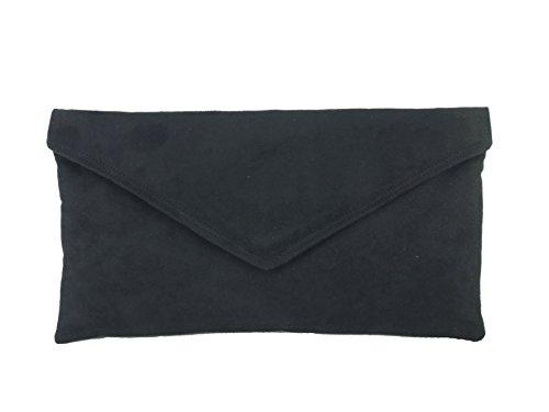 LONI Neat Umschlag Faux Wildleder Clutch Bag/Schultertasche in schwarz -